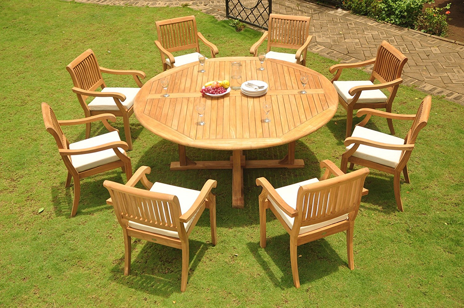 Luxurious Grade-A Teak Dining Set – 60″ Round Table And 6 Stacking Arbor Arm Chairs