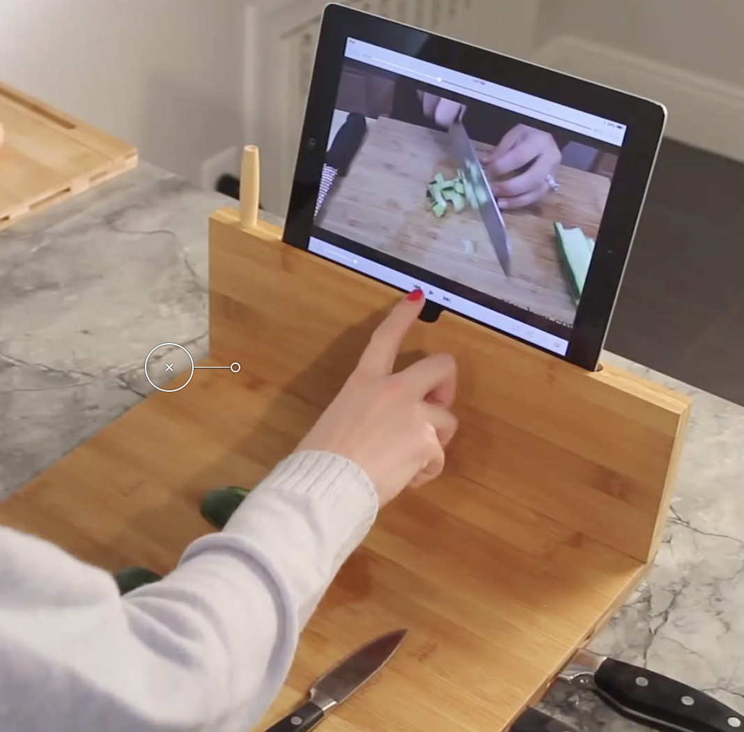 Bamboo Cutting Board with Stand for iPad and Knife Storage