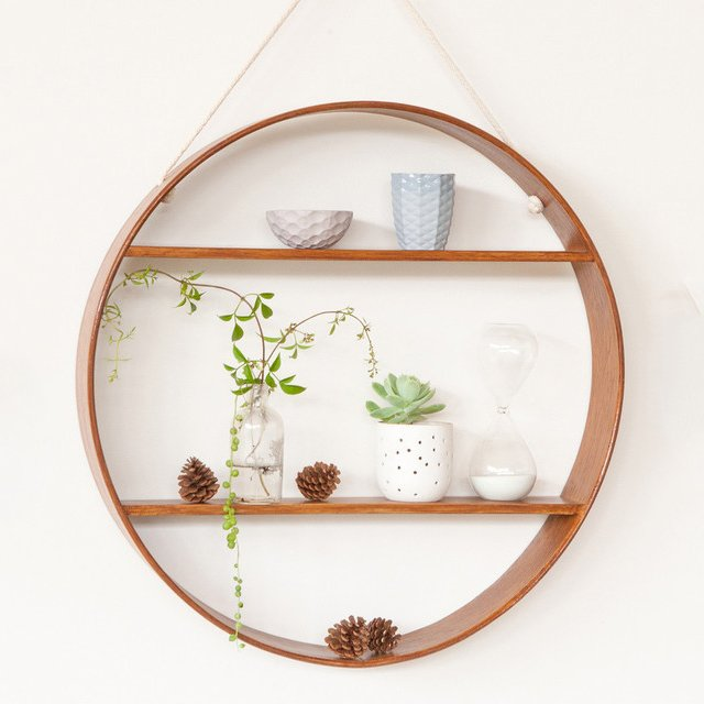 Oak Two Tier Circle Shelf