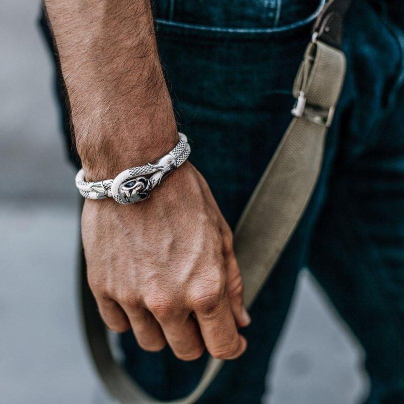 Skull Clasp White Genuine Snake Skin Bracelet