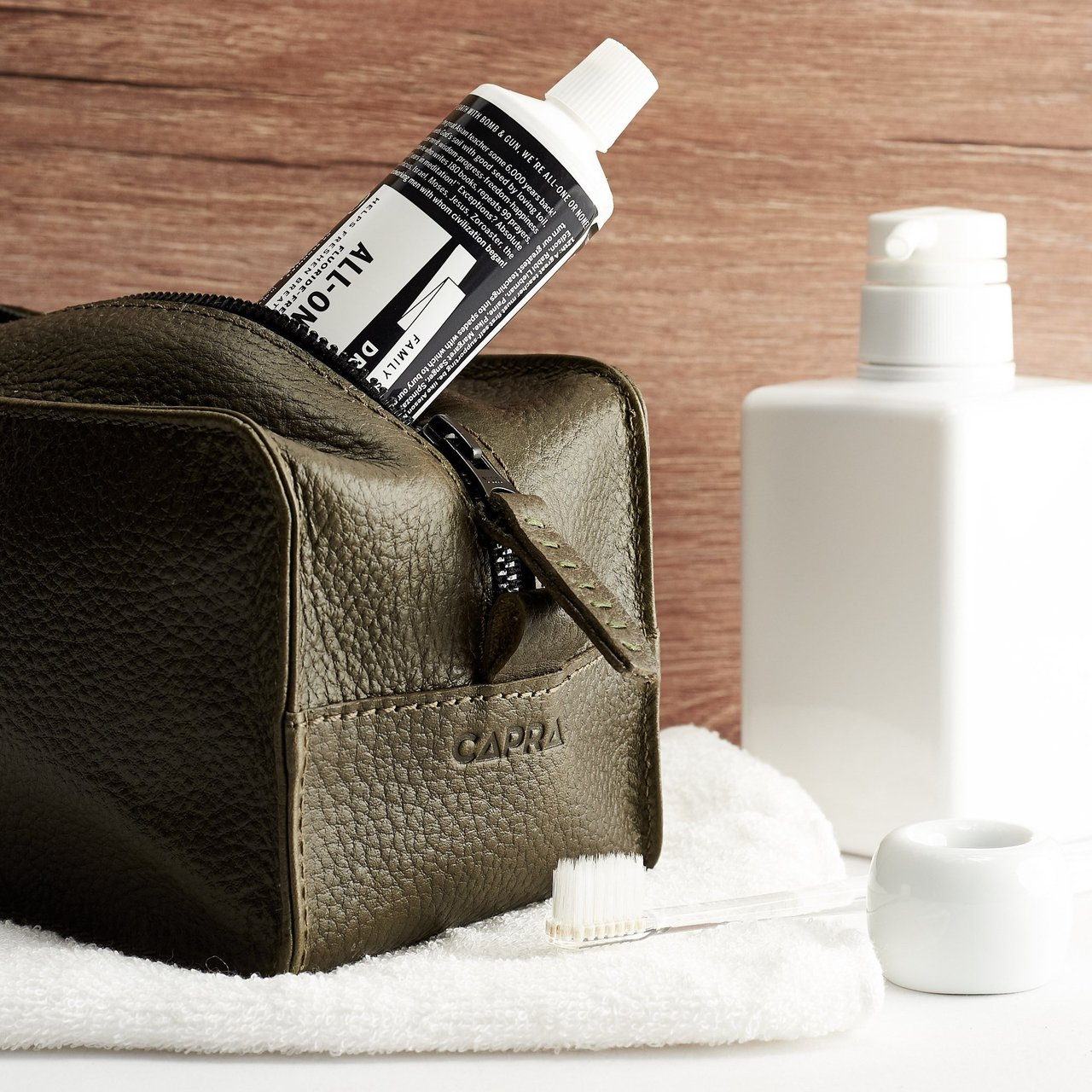 Green Leather Barber Toiletry Dopp Kit