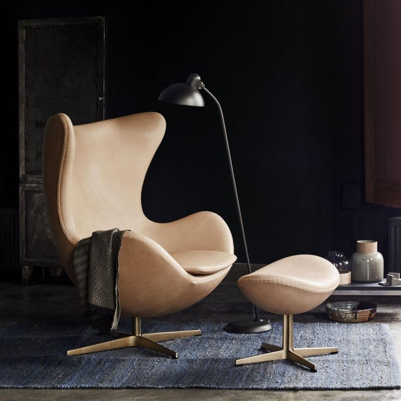 Leather & Gold Egg Chair