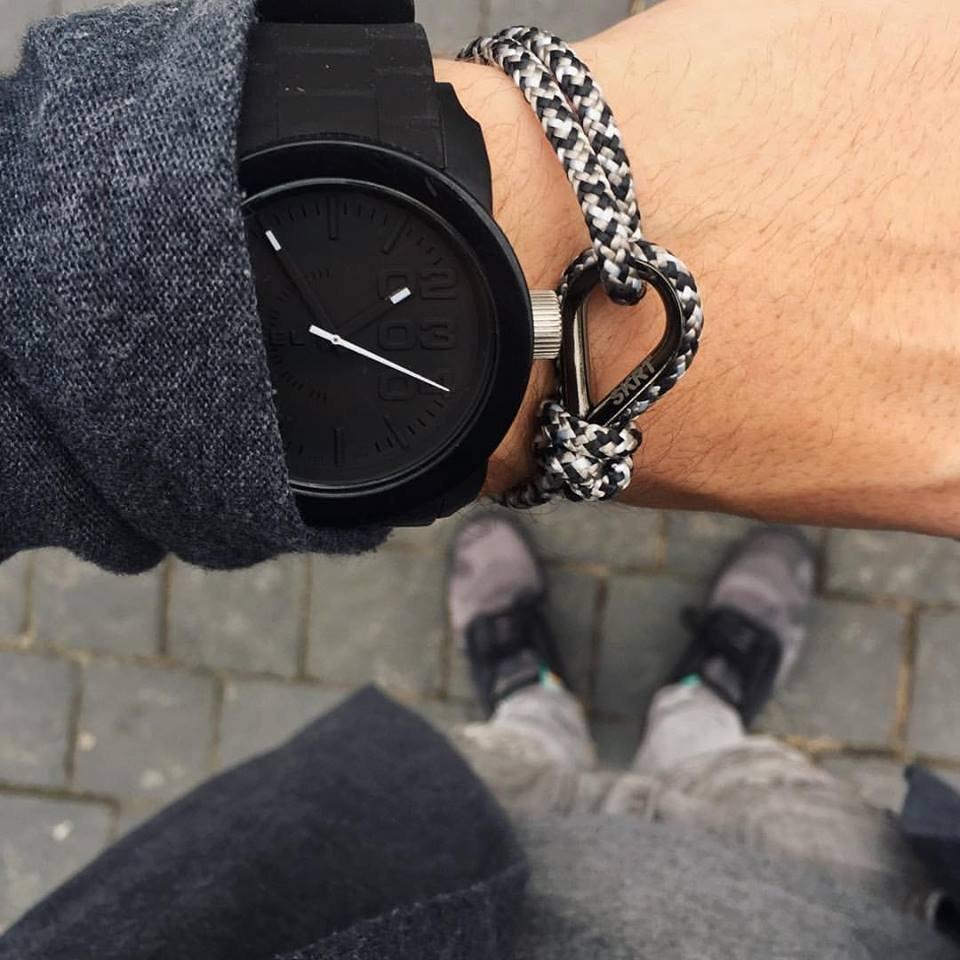 Gray White & Black Personalized Unisex Bracelet
