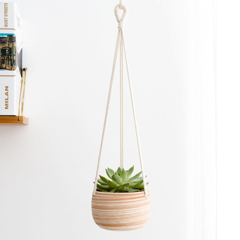 Mkono Macrame Ceramic Hanging Planter Small Succulent Plant Pot