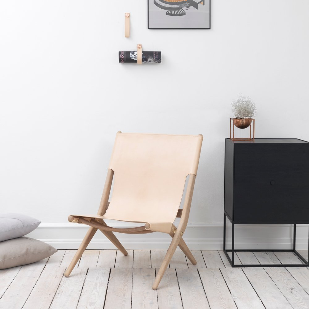 Danish 'Saxe' Leather Folding Chair, Natural