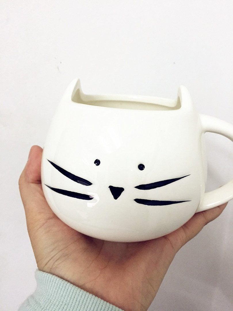DOYOLLA Lovely Cute Little White Cat Coffee Milk Ceramic Mug Cup