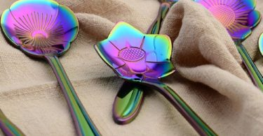 Flower Spoon Set, niceEshop(TM)Stainless Steel Teaspoon Colorful Coffee Spoon Tea Spoon Mixing Spoon Sugar Spoon