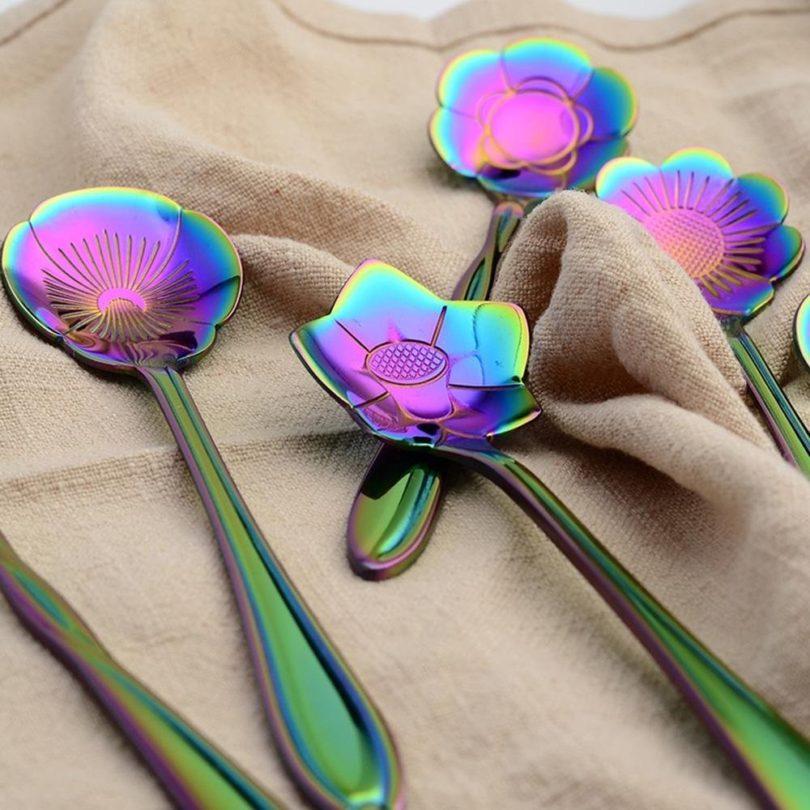 Flower Spoon Set, niceEshop(TM)Stainless Steel Teaspoon Colorful Coffee Spoon Tea Spoon Mixing Spoon Sugar Spoon