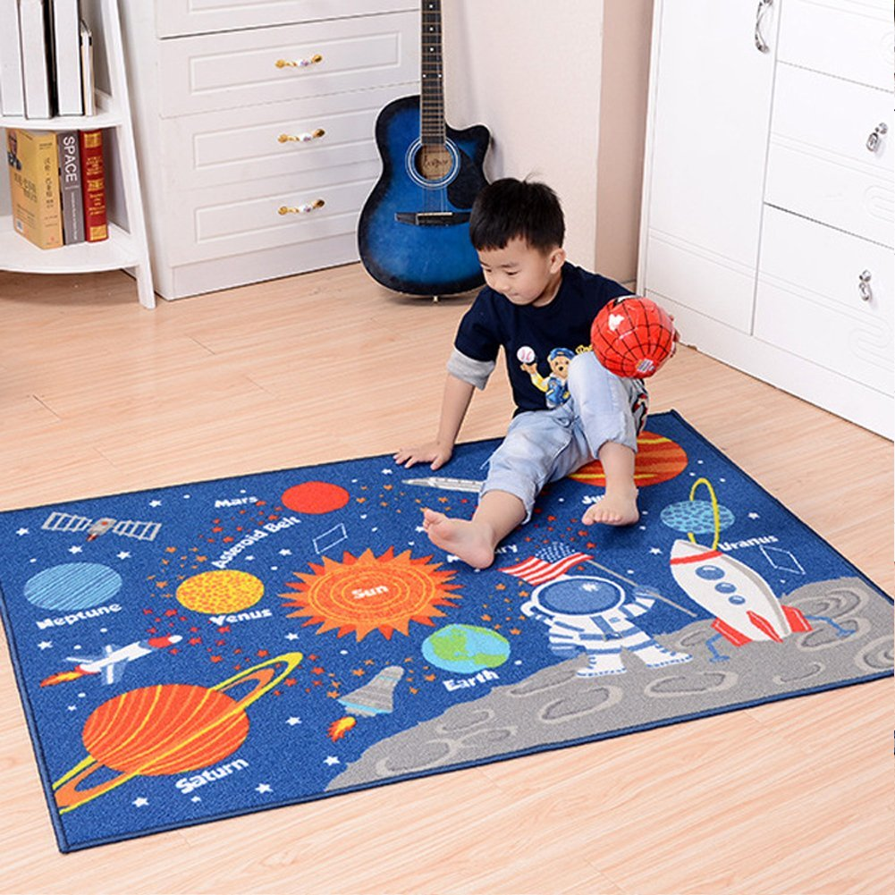 Kids Rug Educational Learning Carpet Galaxy Planets Stars Blue