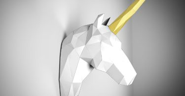 White and Gold Papertrophy unicorn