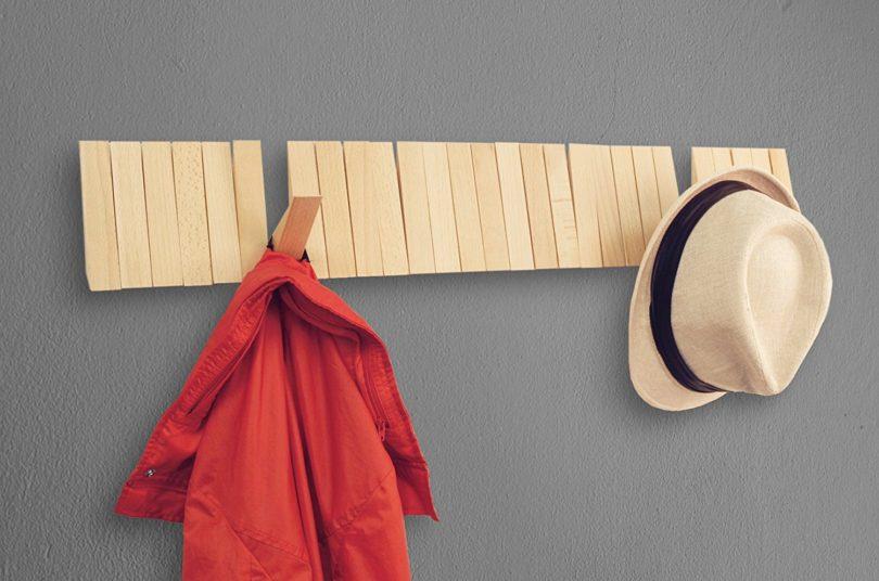 Home Moda Piano Wall Mounted CoatRack with Space Saving 29 Hooks for Coats