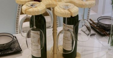 Wine & Glasses Wooden Carrier