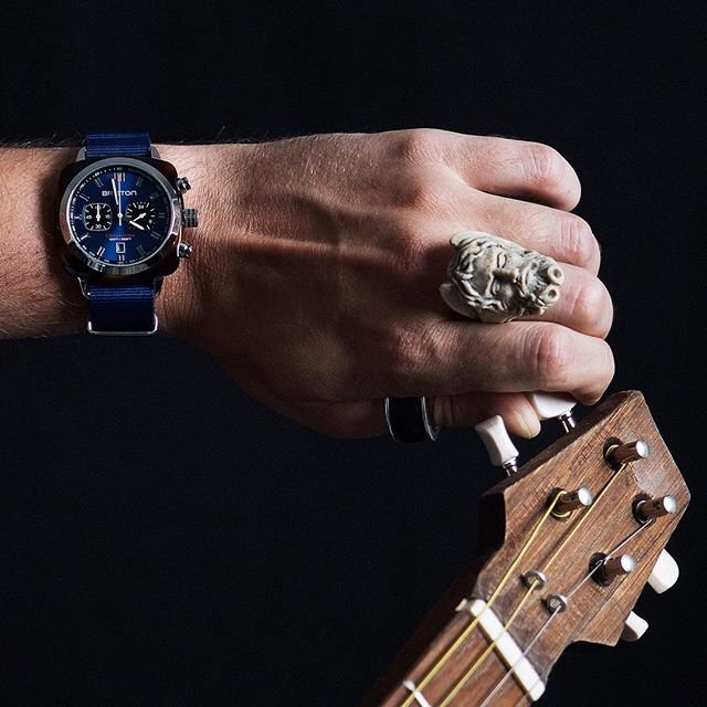 Clubmaster Sport Acetate Chrono Date Tortoise Shell Blue Dial Blue Nato Watch