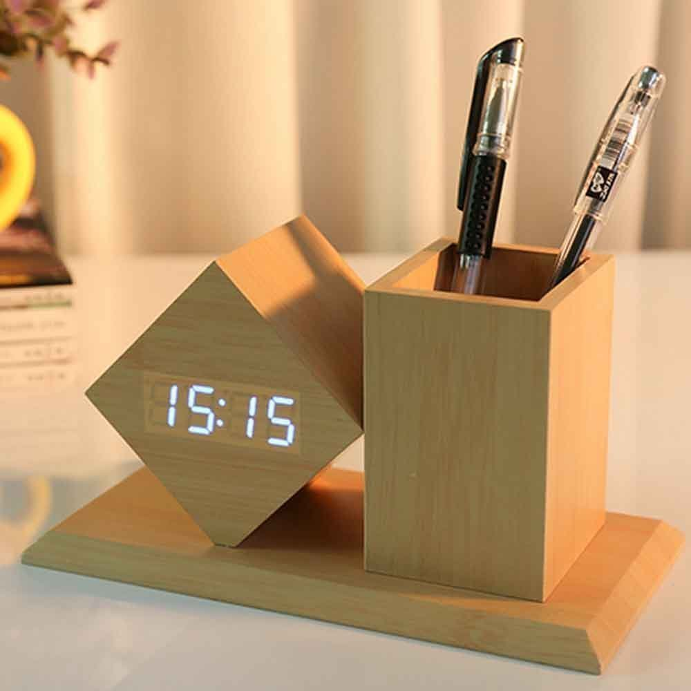 Wooden Desk LED Clock Pen Holder