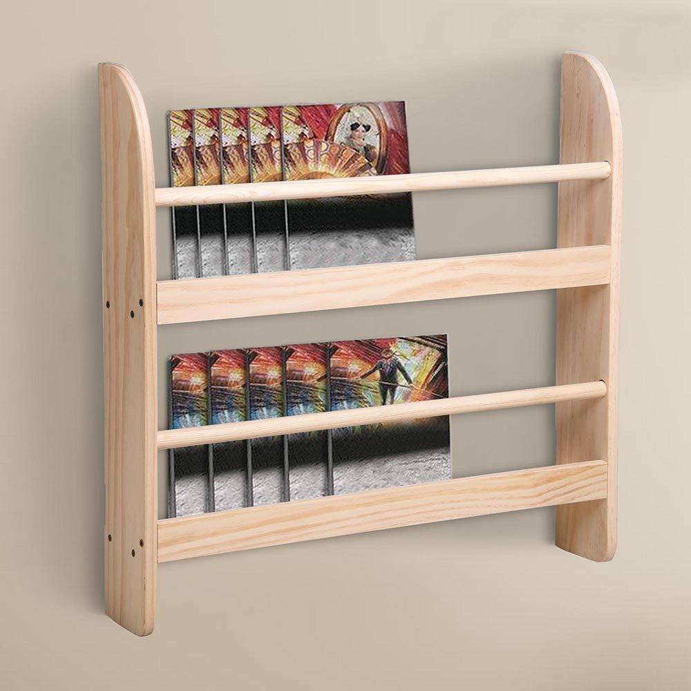 Yescom 2 Tier Wood Wall Mounted Bookshelf