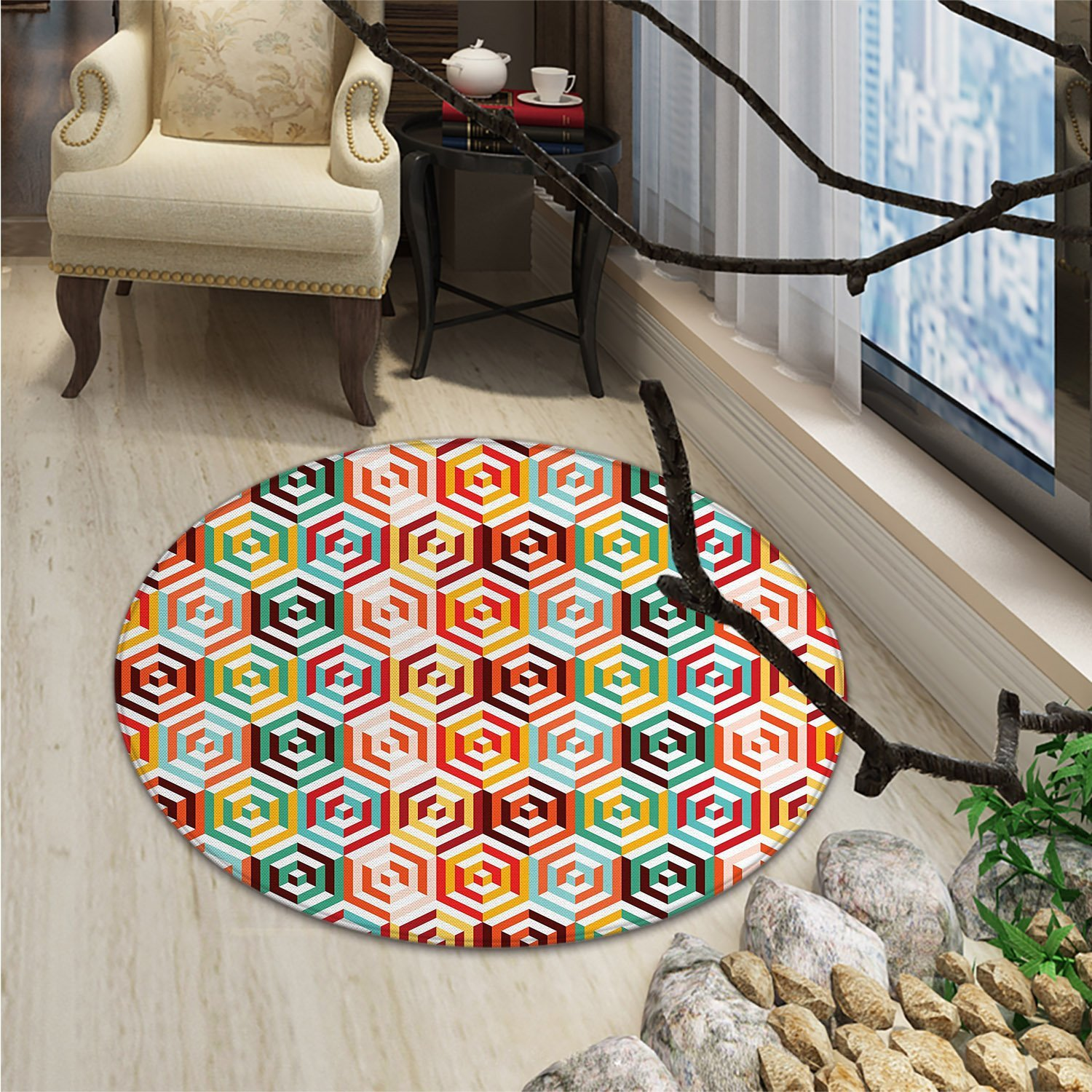 Geometric Round Rug Kid Carpet