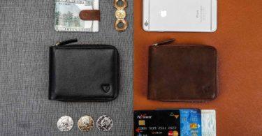 RFID Men's Leather Zipper Bifold Wallet