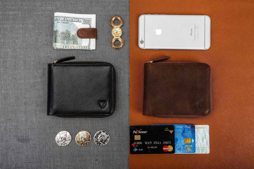 RFID Men's Leather Zipper Bifold Wallet