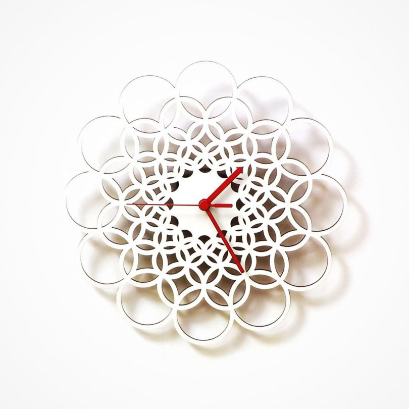 Rings White Wooden Wall Clock