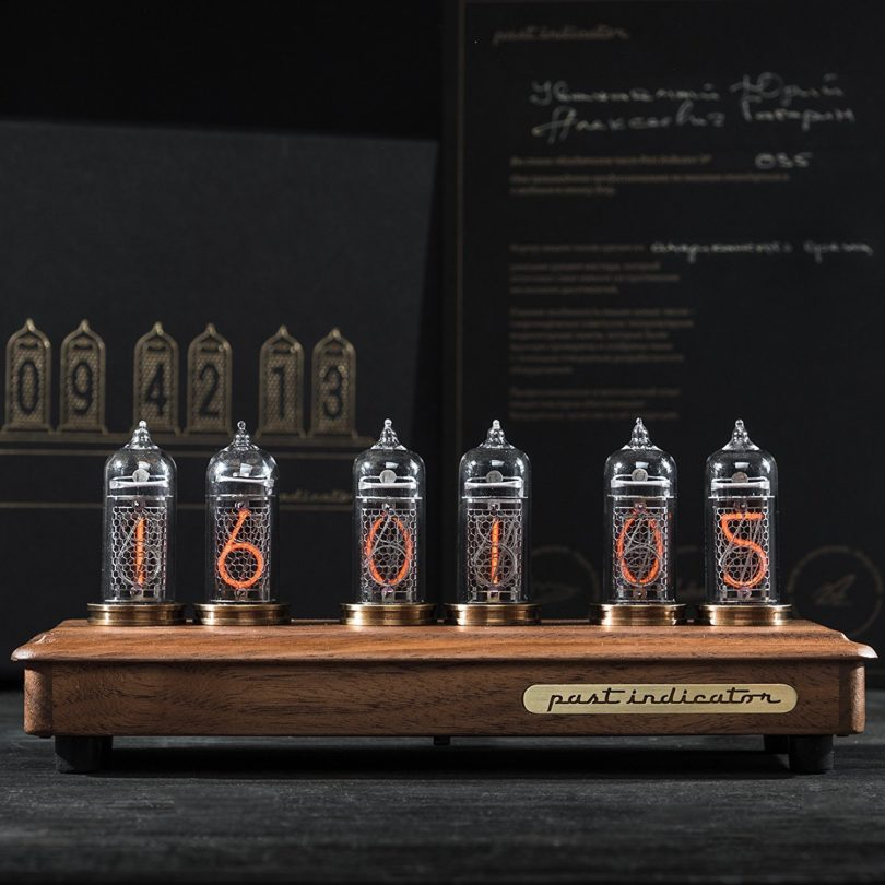 """Vostok-2 Black"" Walnut Nixie Clock"