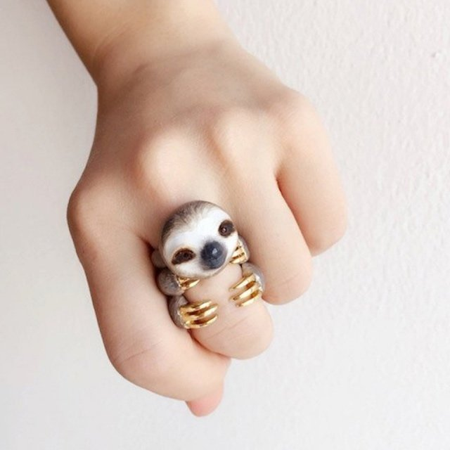 Mary Lou Grey Sloth Ring Set