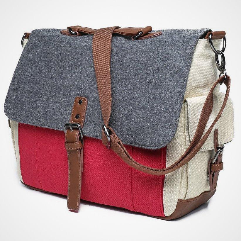 Tri Color Canvas Messenger Bag
