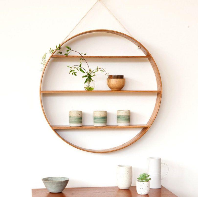 Oak Circle Oiled Finish Tiered Shelf