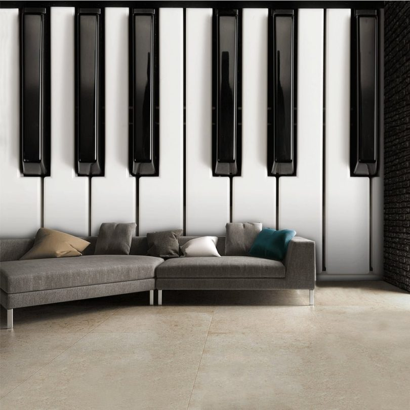 Black and White Piano Wallpaper