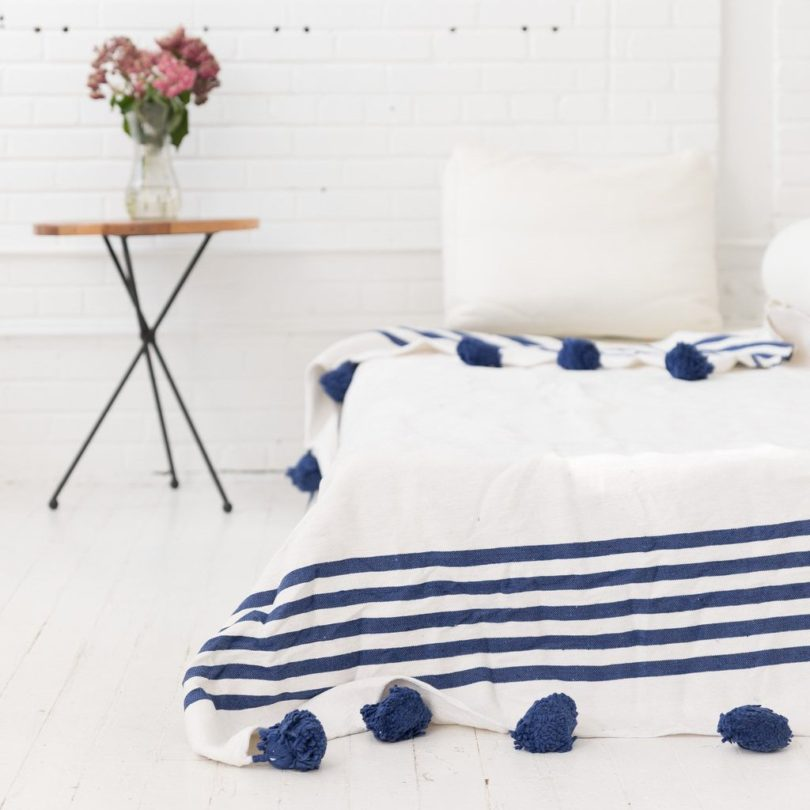 Blu Belle Pom Pom Blanket