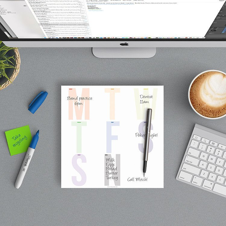 Large Letters Weekly Desk Pad
