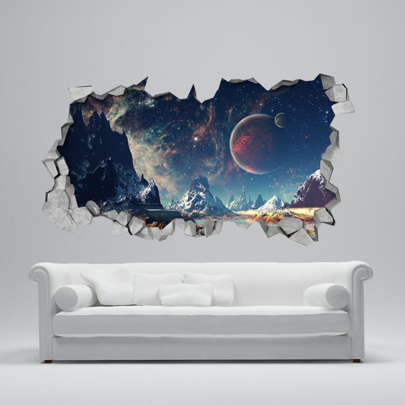 space broken wall decal » petagadget