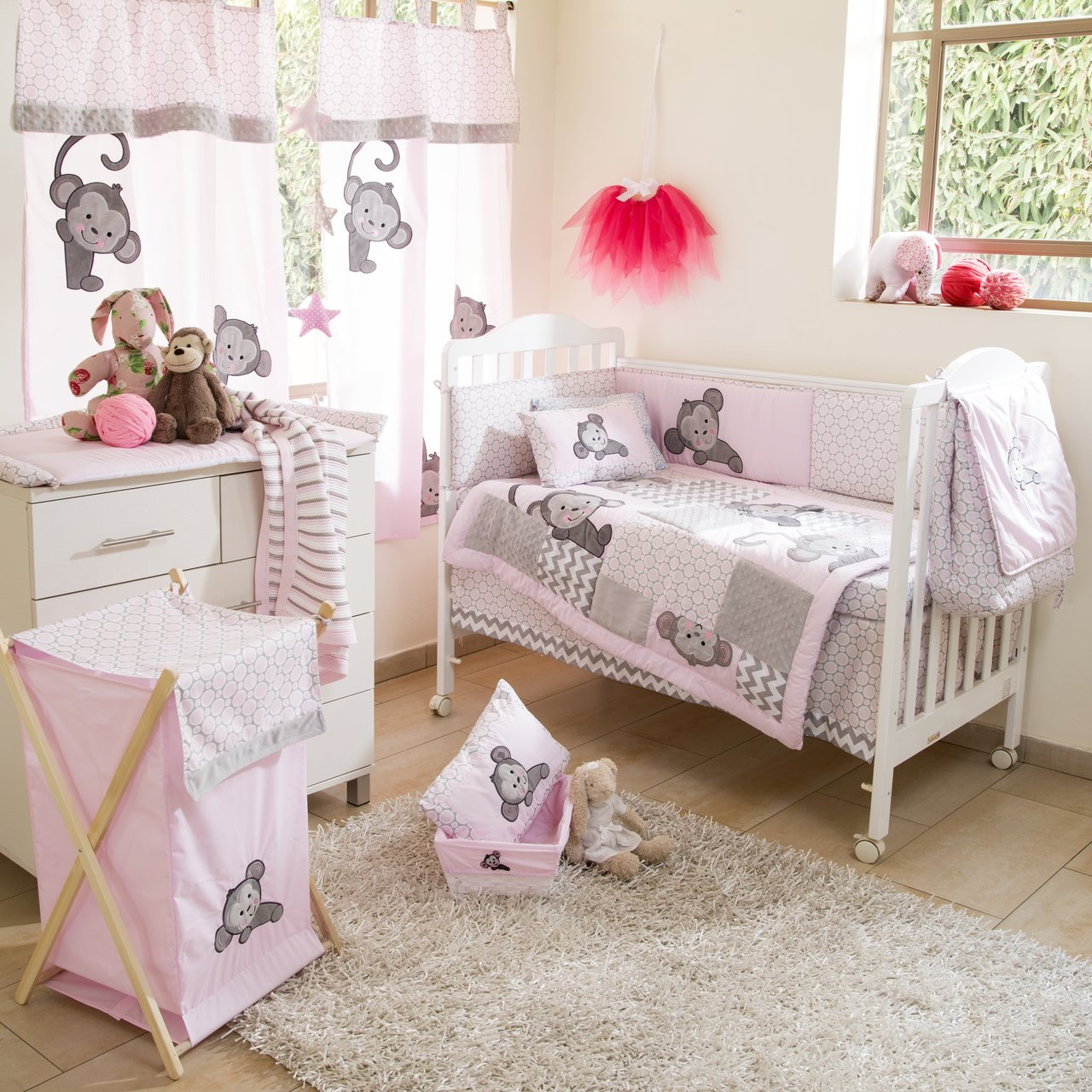 Pink Monkey Crib Bedding Set