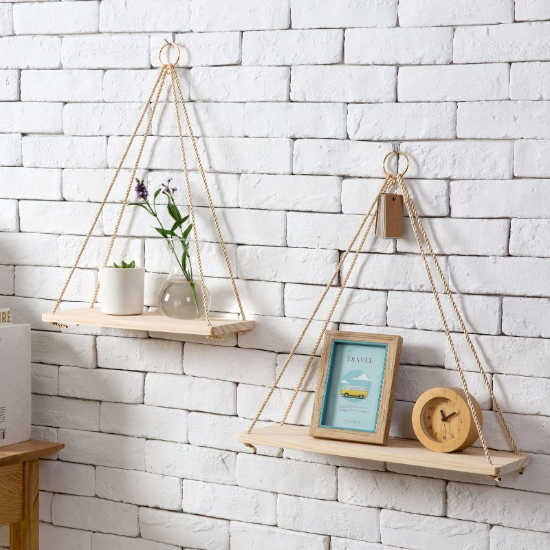 Wall Hanging Shelf Swing Rope Floating Shelves