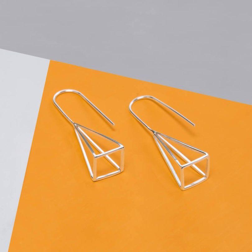 Geometric Sterling Silver Pyramid Earrings