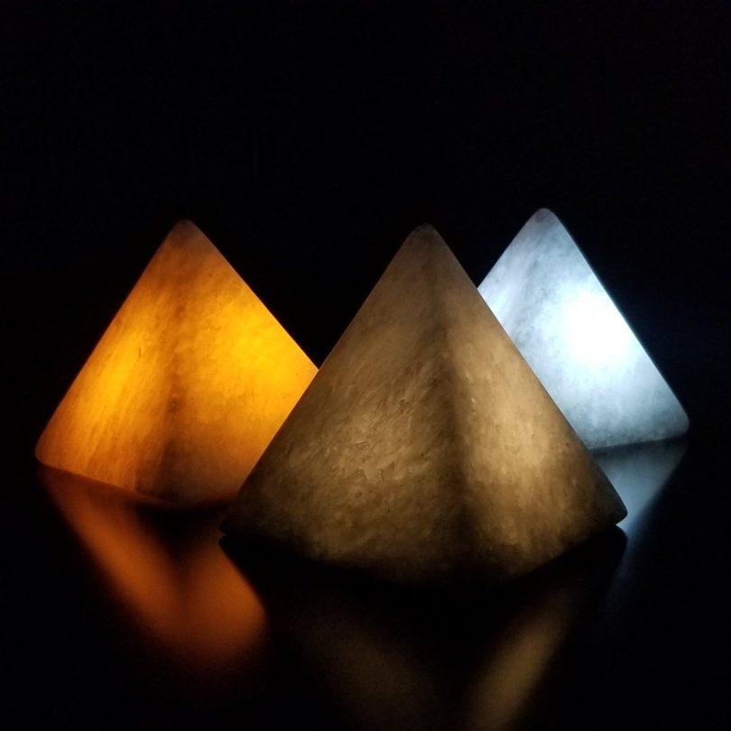 Hand Made Gypsum Ore Pyramid Mood Lighting