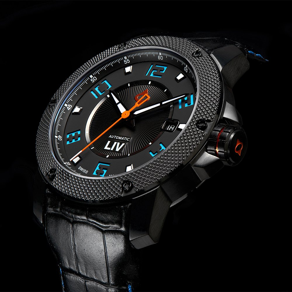 GX1-A Swiss Made Automatic Black IP Case Black Dial & Blue Numbers 1110.42.19