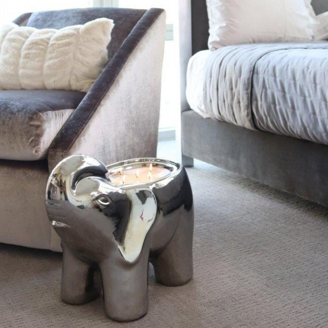 Silver Grand Elephant Candle