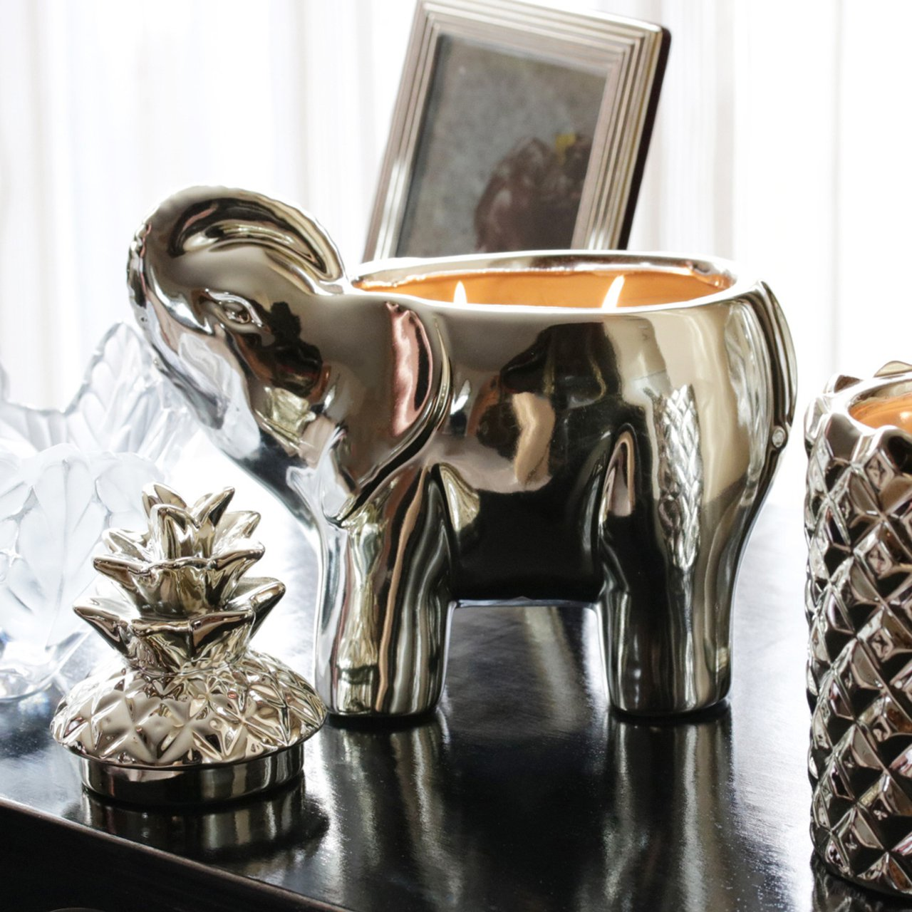 Elephant Wildflower Champagne Candle