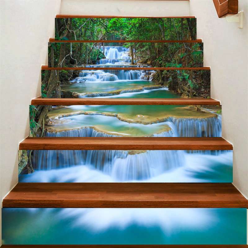 Fuloon waterfall 3d stair sticker diy steps sticker wall decal mural wallpaper