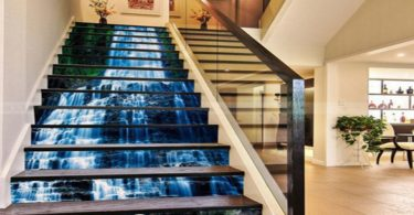 Waterfall Rock Stair Risers Mural