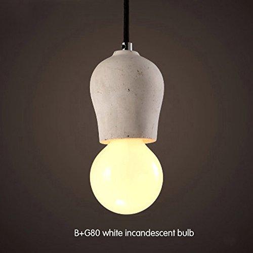 KunMai Rustic Concrete Exposed Edison Bulb Mini Single-Light Pendant Light Fixture (B)