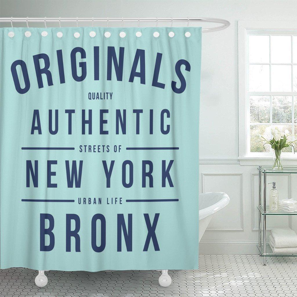MAYTEC Shower Curtain Black Varsity Vintage New York City Slogan