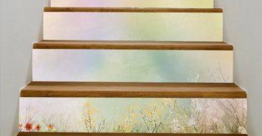 Cosmos White Daisy Cornflower Stairs Mural