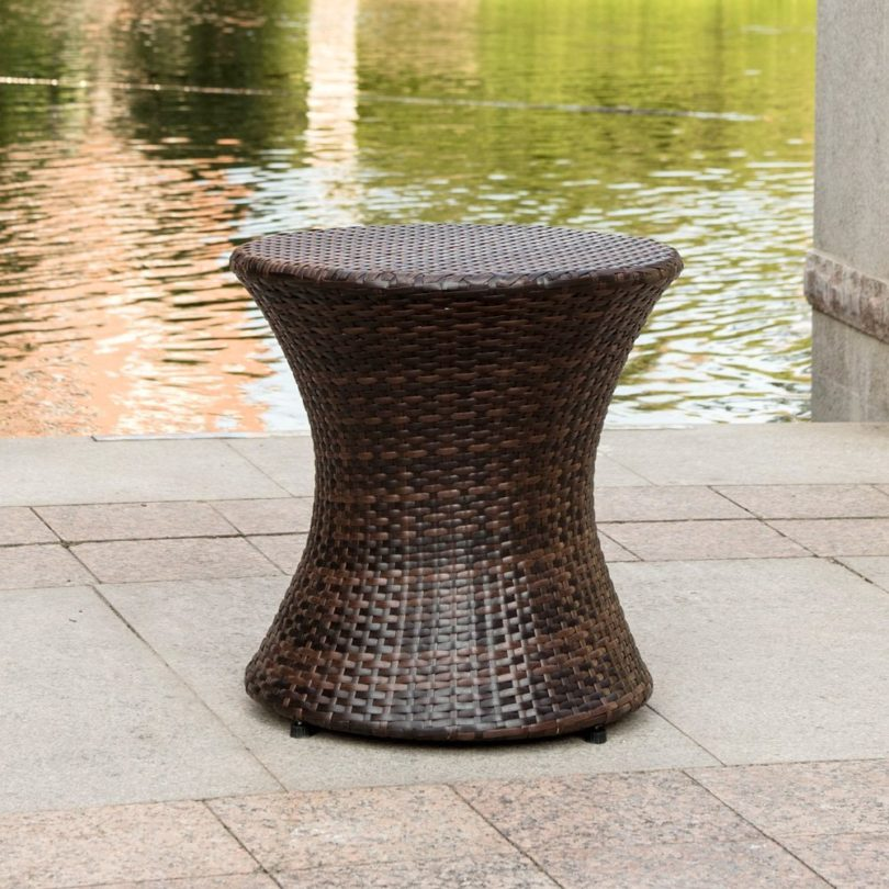 Sundale Outdoor Wicker Hourglass Accent Side Table
