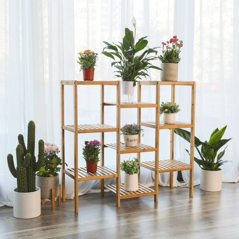 SONGMICS Bamboo Customizable Plant Stand