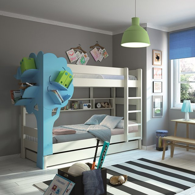 Triple Bunk Bed with Tree Bookcase