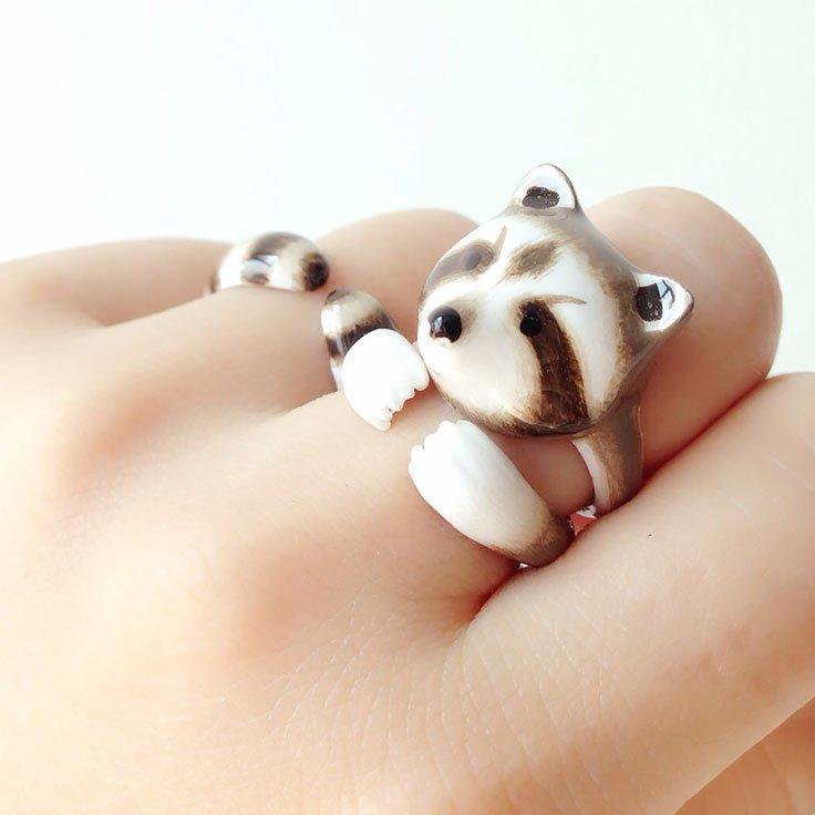 Mary Lou Raccoon Ring Set