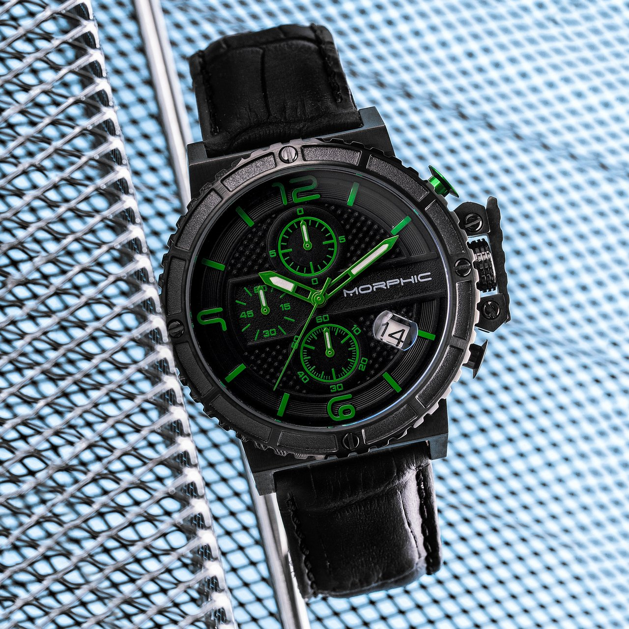 Morphic M50 Series Chronograph Crocodile-Embossed Leather-Band Date Watch