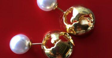 World Globe/Pearl Earrings
