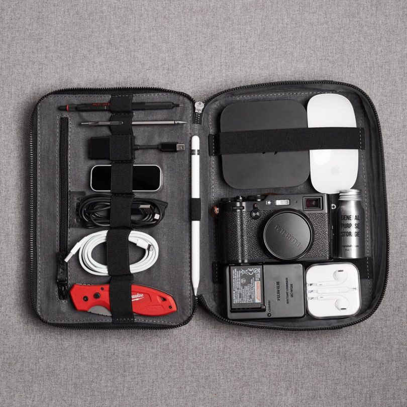 Black Leather Gadget Travel Bag